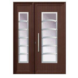 Πόρτα εισόδου χρώμα με απόχρωση ξύλου .