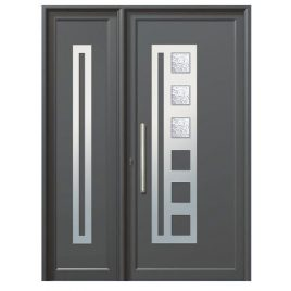 Πόρτα εισόδου αλουμινίου. ALUMIL M9400 με πλαϊνό φεγγίτη.
